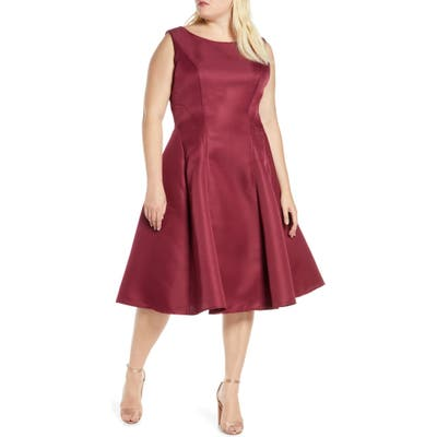 Plus Size Chi Chi London Curve Bracken Satin Fit & Flare Cocktail Dress, Red
