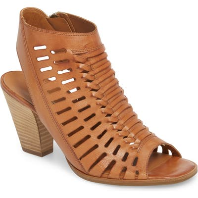 Paul Green Rosa Woven Peep Toe Sandal - Brown