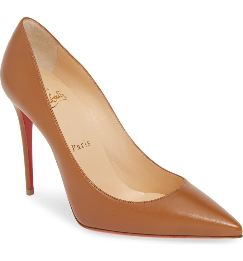 CHRISTIAN LOUBOUTIN 'Decollete' Pointy Toe Pump, Main, color, CARAMEL LEATHER
