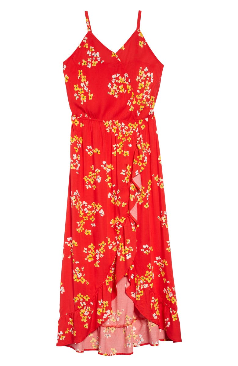 MIA CHICA Ruffle Maxi Dress, Main, color, RED FLORAL 350AB