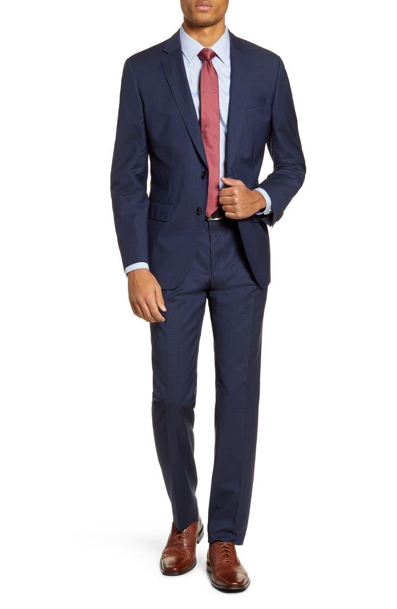 BOSS Huge/Genius Trim Fit Check Wool Suit, Main, color, NAVY