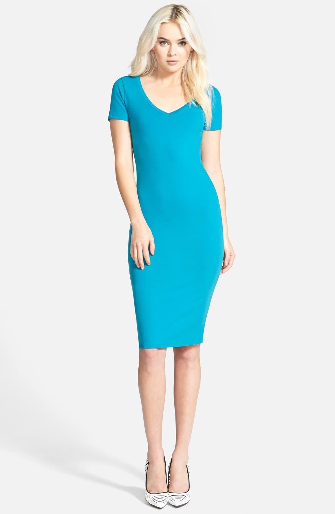 ,                             V-Neck Body-Con Dress,                             Main thumbnail 14, color,                             449
