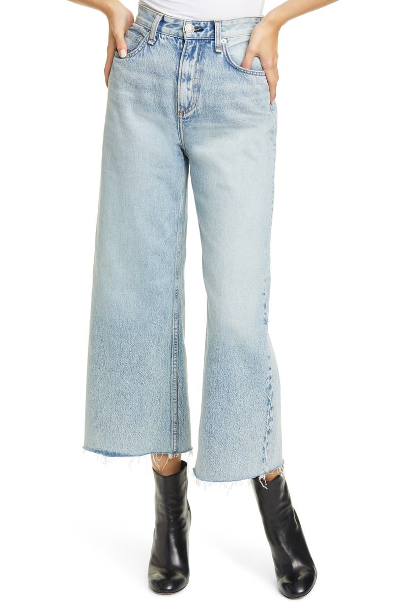 RAG & BONE Ruth Super High Waist Raw Crop Wide Leg Jeans, Main, color, CLOUDY
