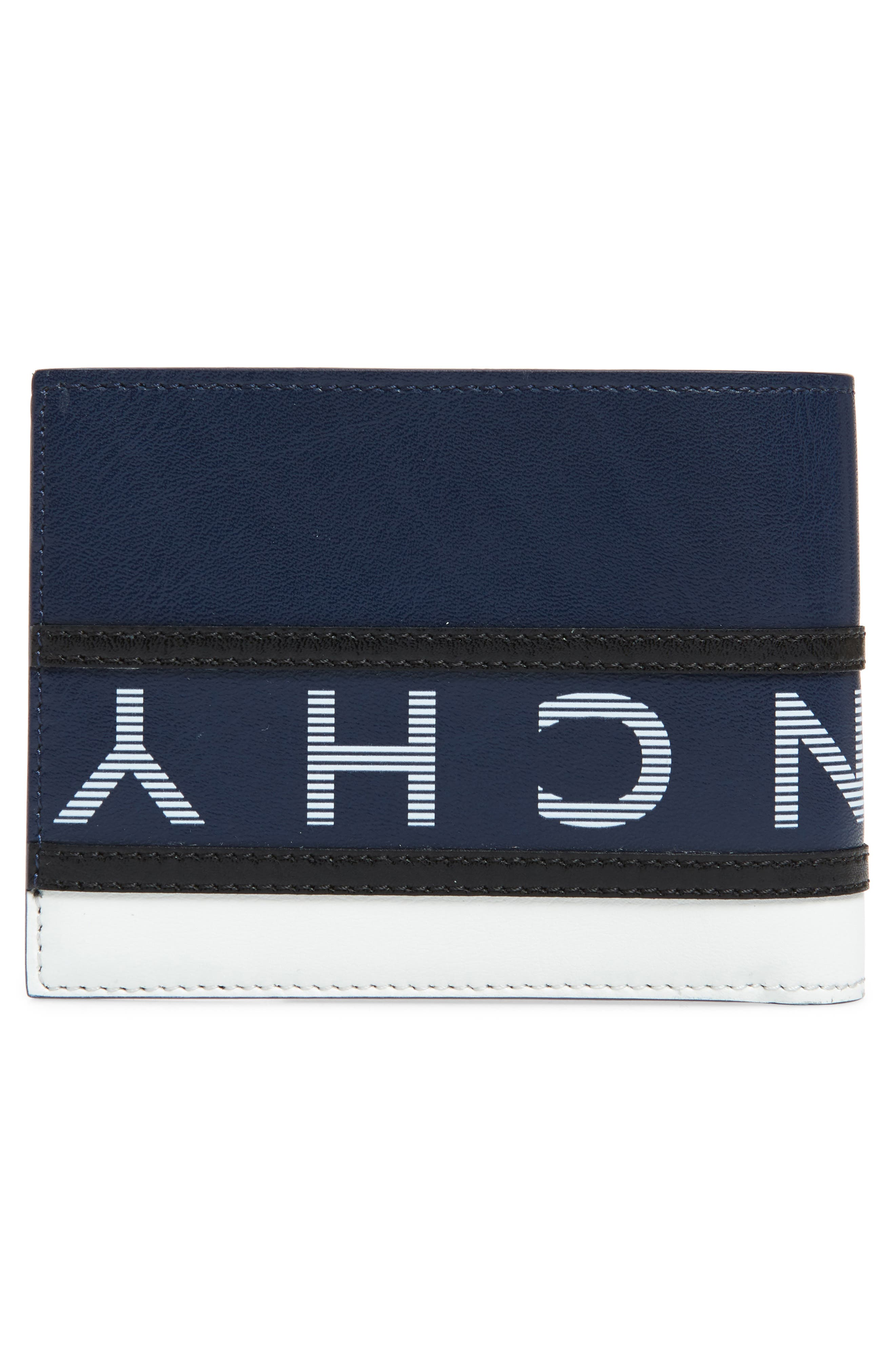 ,                             Reverse Logo Leather Wallet,                             Alternate thumbnail 3, color,                             BLUE/ WHITE