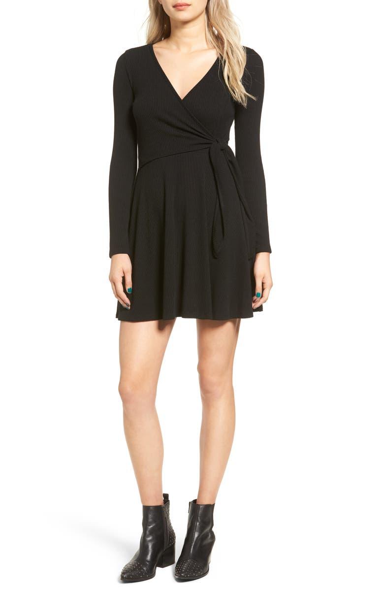 EVERLY Rib Knit Wrap Dress, Main, color, 001