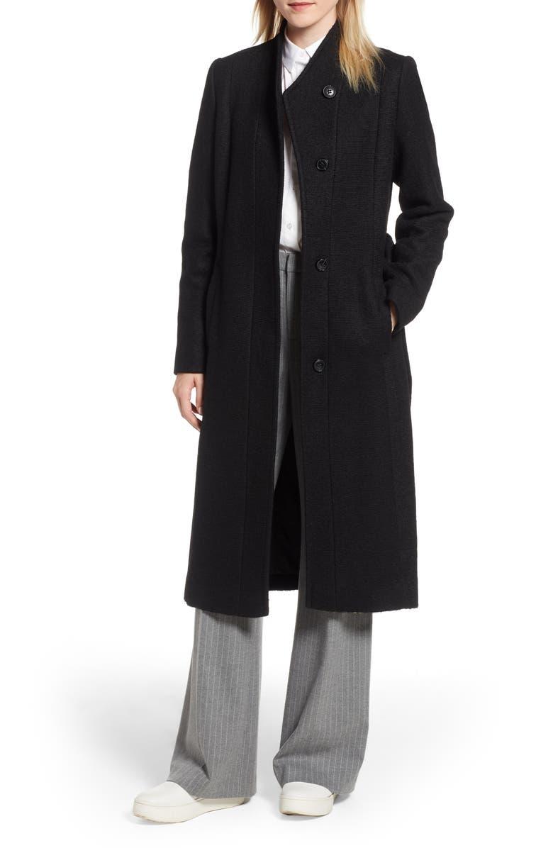 COLE HAAN SIGNATURE Woven Coat, Main, color, BLACK