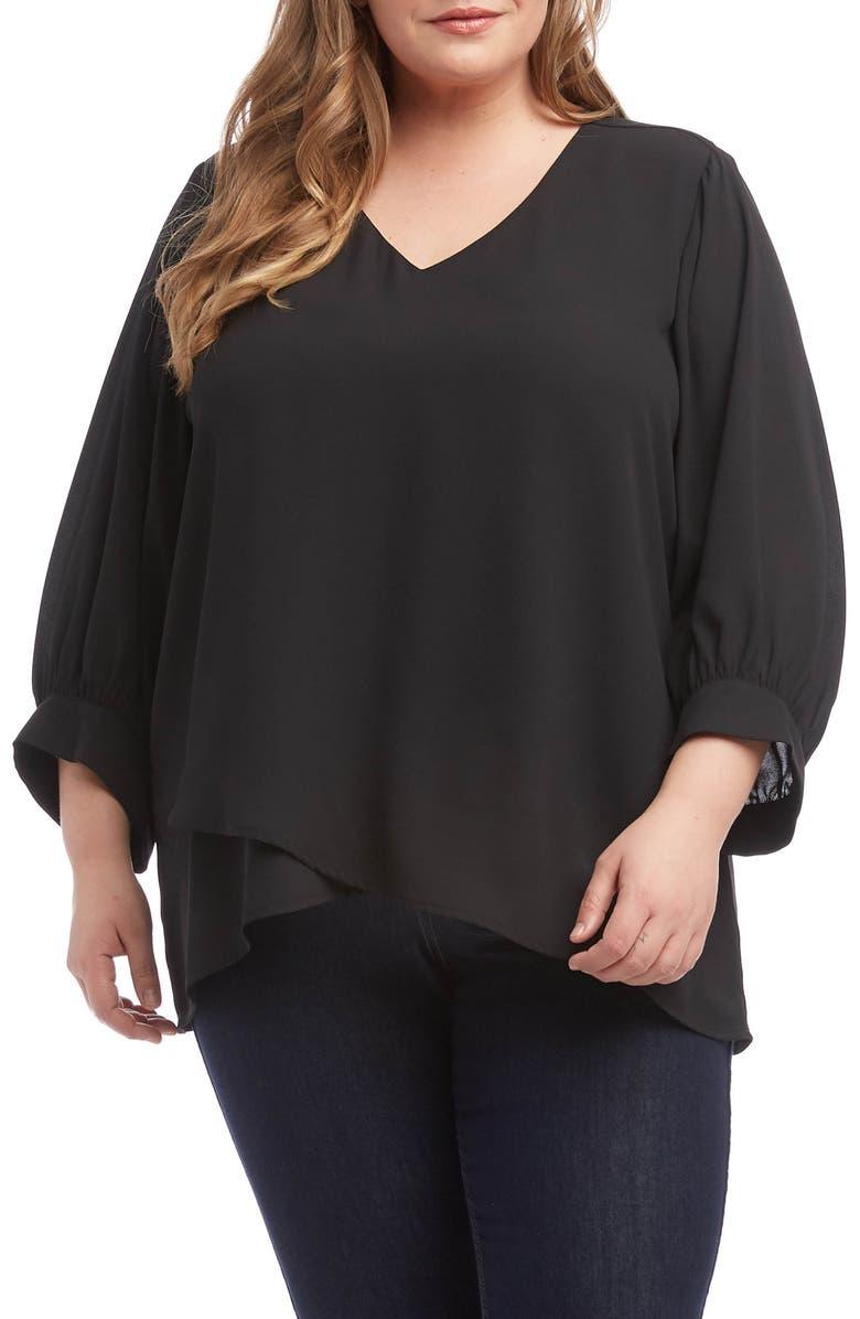 KAREN KANE Blouson Sleeve Blouse, Main, color, BLACK