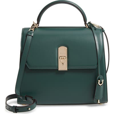 Salvatore Ferragamo Large Box Calfskin Satchel - Green