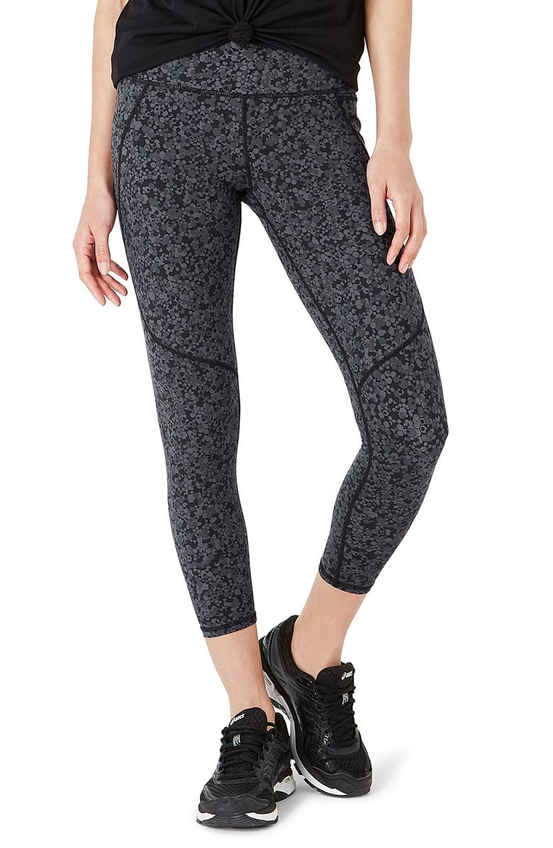 SWEATY BETTY Power Workout Crop Leggings, Main, color, TONAL HEXAGON PRINT