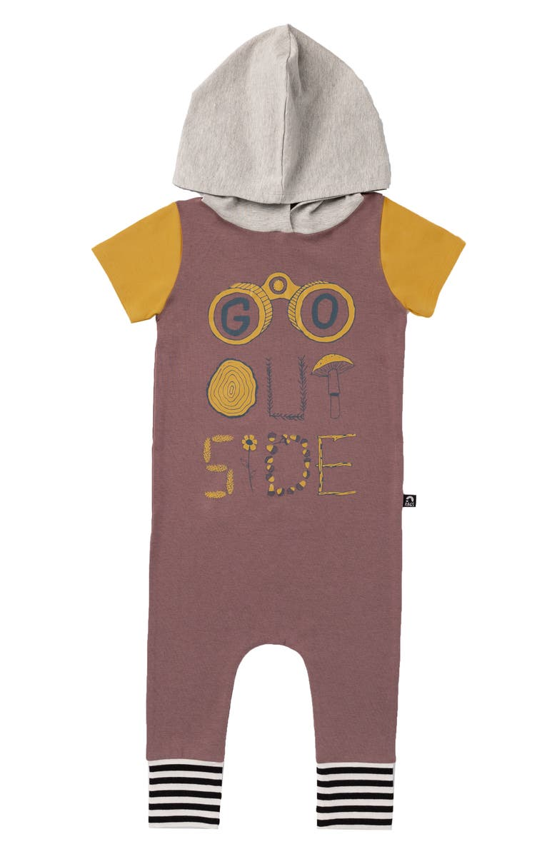 RAGS Go Outside Hooded Romper, Main, color, ROSE TAUPE