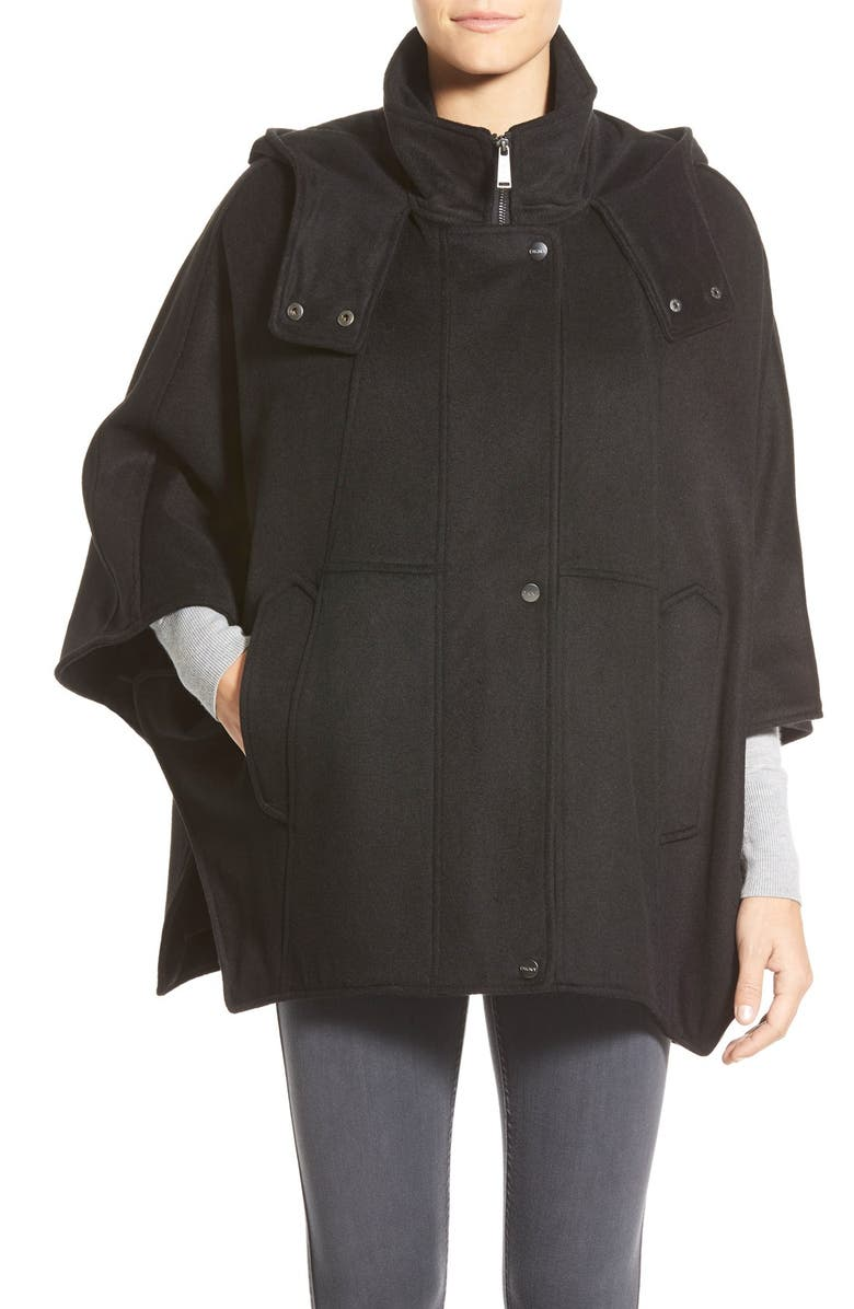 DKNY 'Blythe' Hooded Wool Blend Cape, Main, color, 001