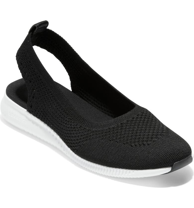 COLE HAAN ZeroGrand Slingback Flat, Main, color, BLACK KNIT/ OPTIC WHITE FABRIC