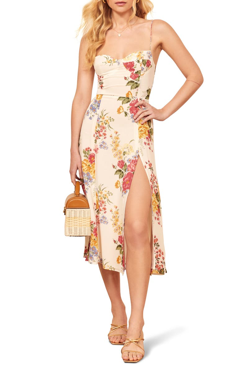 REFORMATION Juliette High Slit Sundress, Main, color, BOUQUET