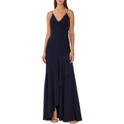 Ml Monique Lhuillier Scalloped Trim Faux Wrap Gown, Blue