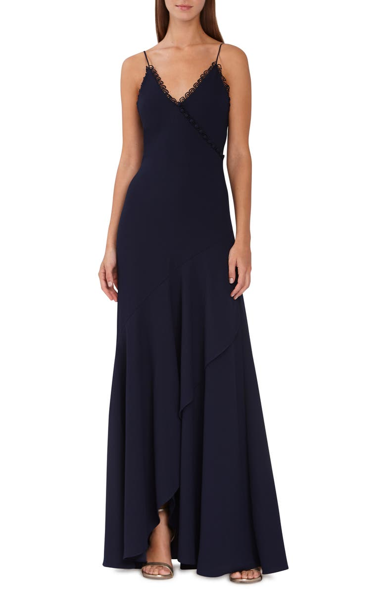ML MONIQUE LHUILLIER Scalloped Trim Faux Wrap Gown, Main, color, NAVY