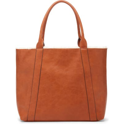 Sole Society Drury Faux Shearling Reversible Tote - Brown