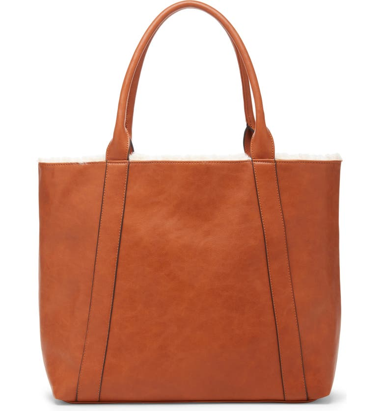 SOLE SOCIETY Drury Faux Shearling Reversible Tote, Main, color, COGNAC COMBO