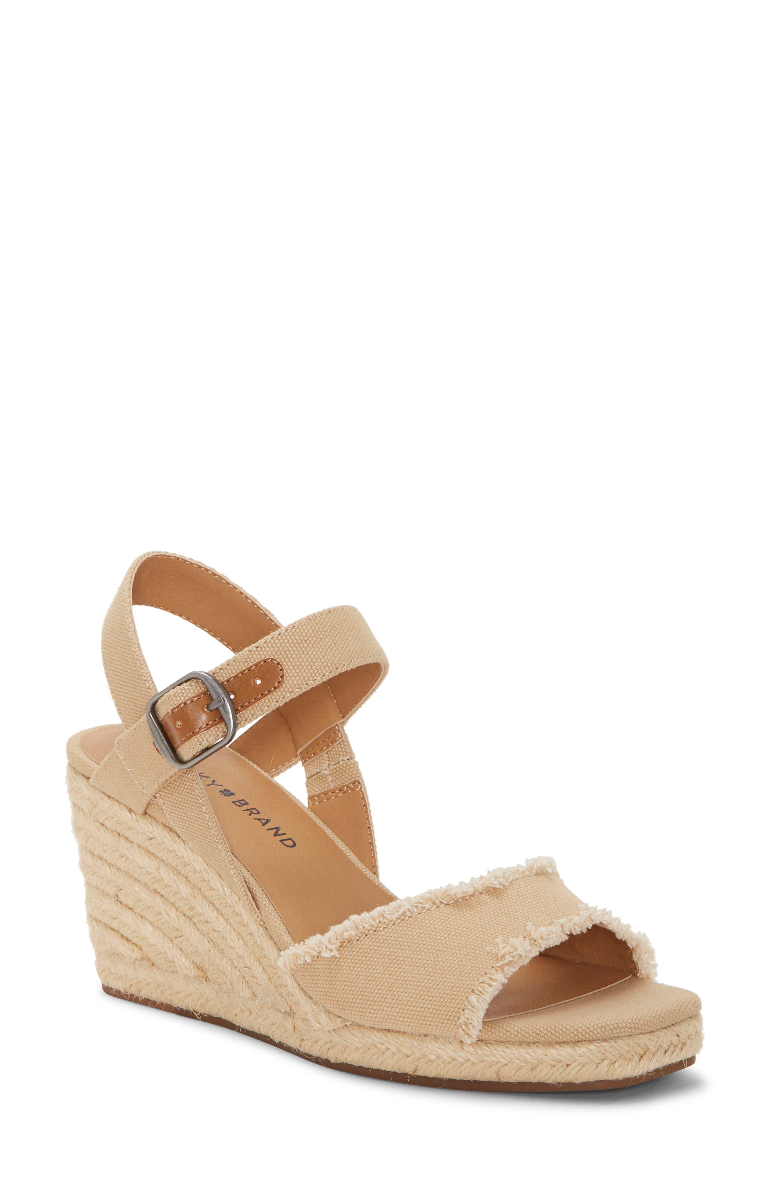 Mindra Espadrille Wedge Sandal, Main, color, TAVERTINE FABRIC