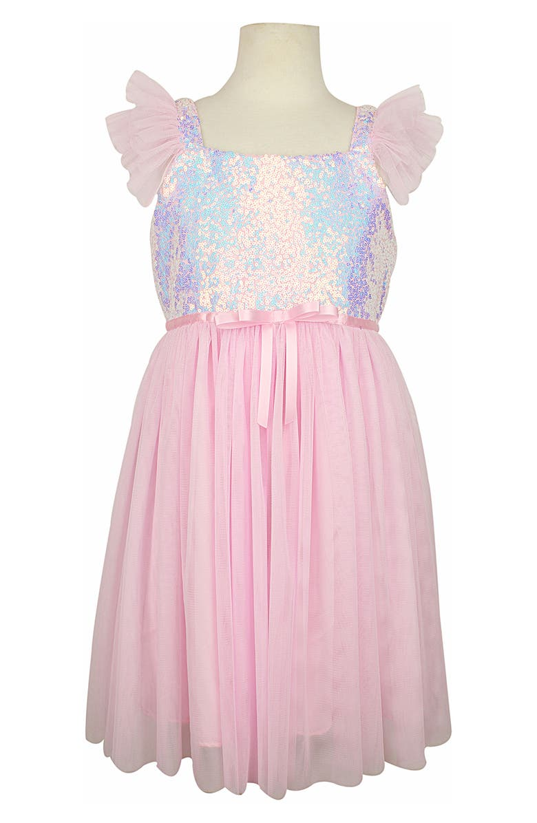 POPATU Sequin Flutter Sleeve Tulle Dress, Main, color, IRR PINK