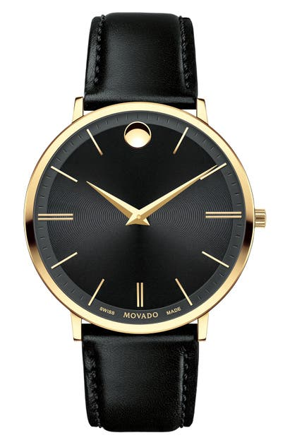 Movado 'Ultra Slim' Leather Strap Watch, 40Mm In Black/ Black/ Gold