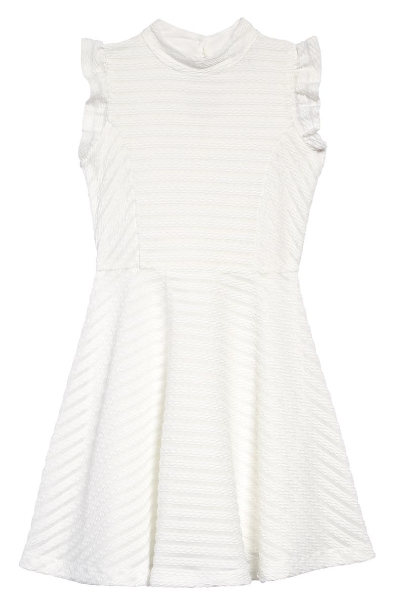 AVA & YELLY Texture Stripe Skater Dress, Main, color, WHITE