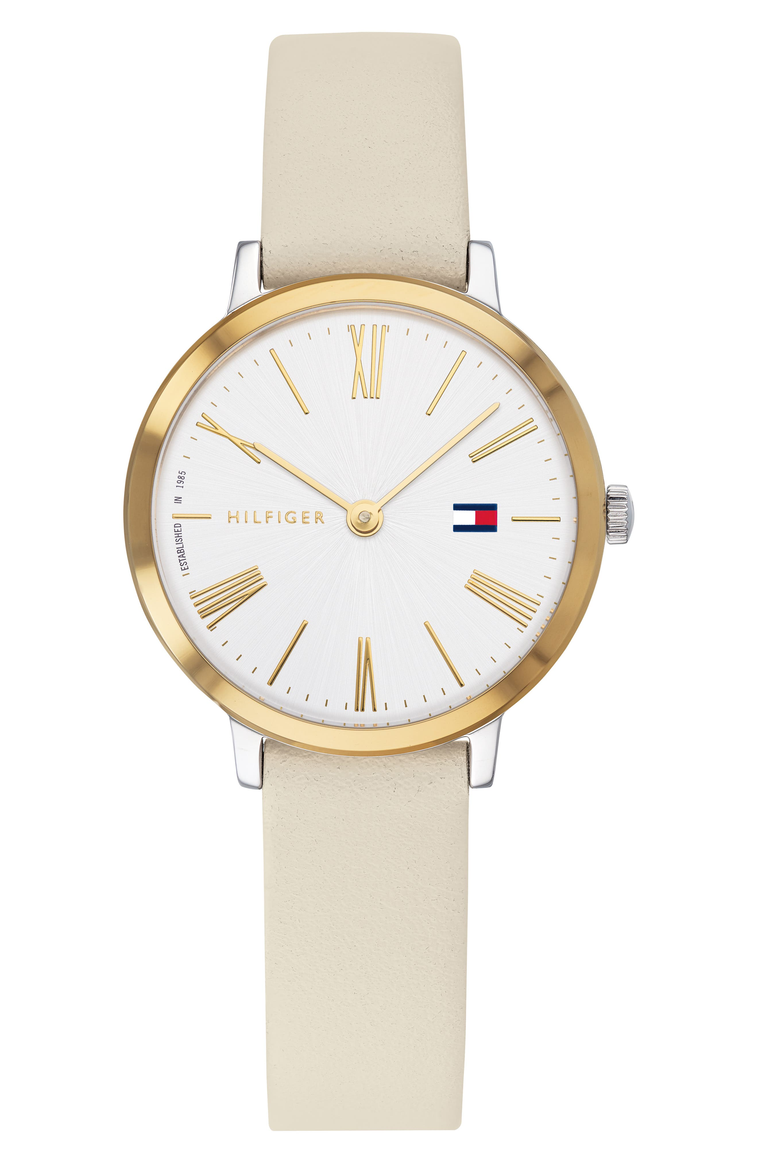 x Zendaya Leather Strap Watch, 28mm, Main, color, BEIGE/ WHITE/ GOLD