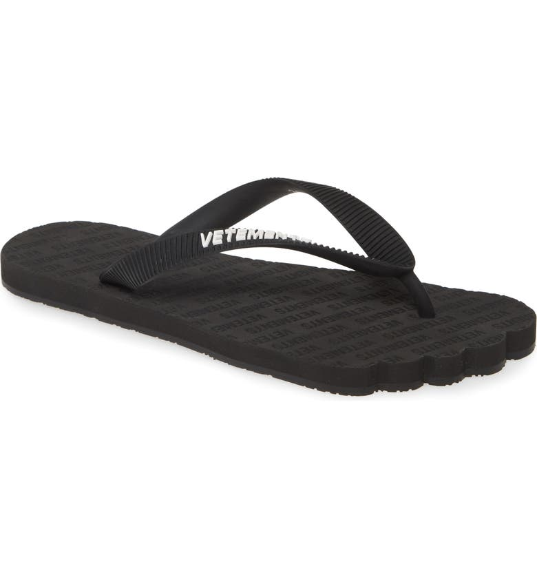 VETEMENTS Logo Anatomic Flip Flop, Main, color, BLACK