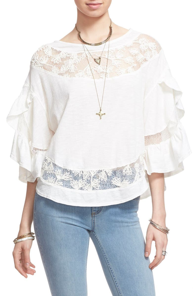 FREE PEOPLE 'Love Affair' Lace Inset Knit Top, Main, color, 900