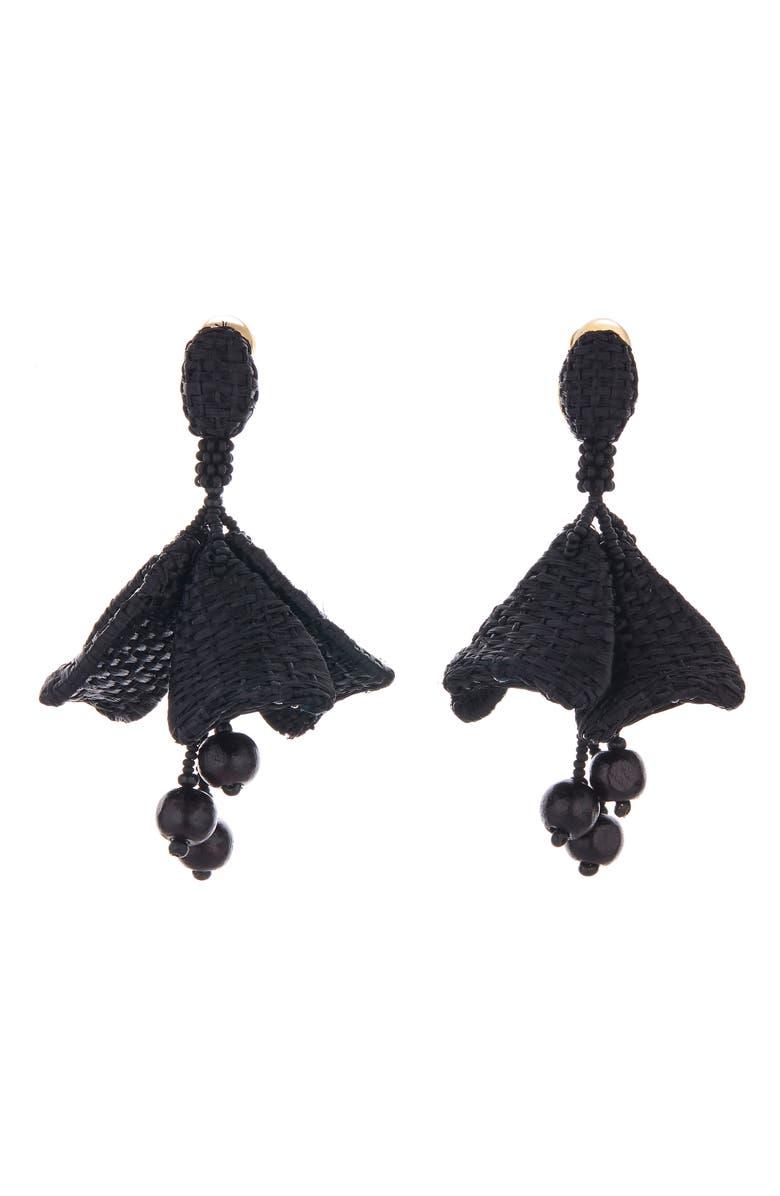 OSCAR DE LA RENTA Raffia Impatiens Flower Drop Earrings, Main, color, BLACK
