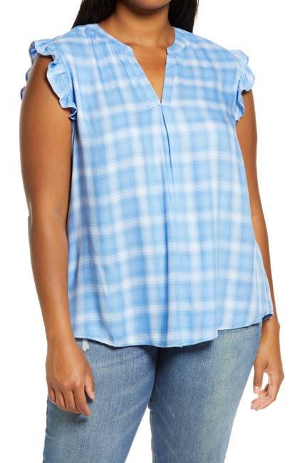 Image of Democracy Ruffle Sleeve Split Neck Plaid Shirt