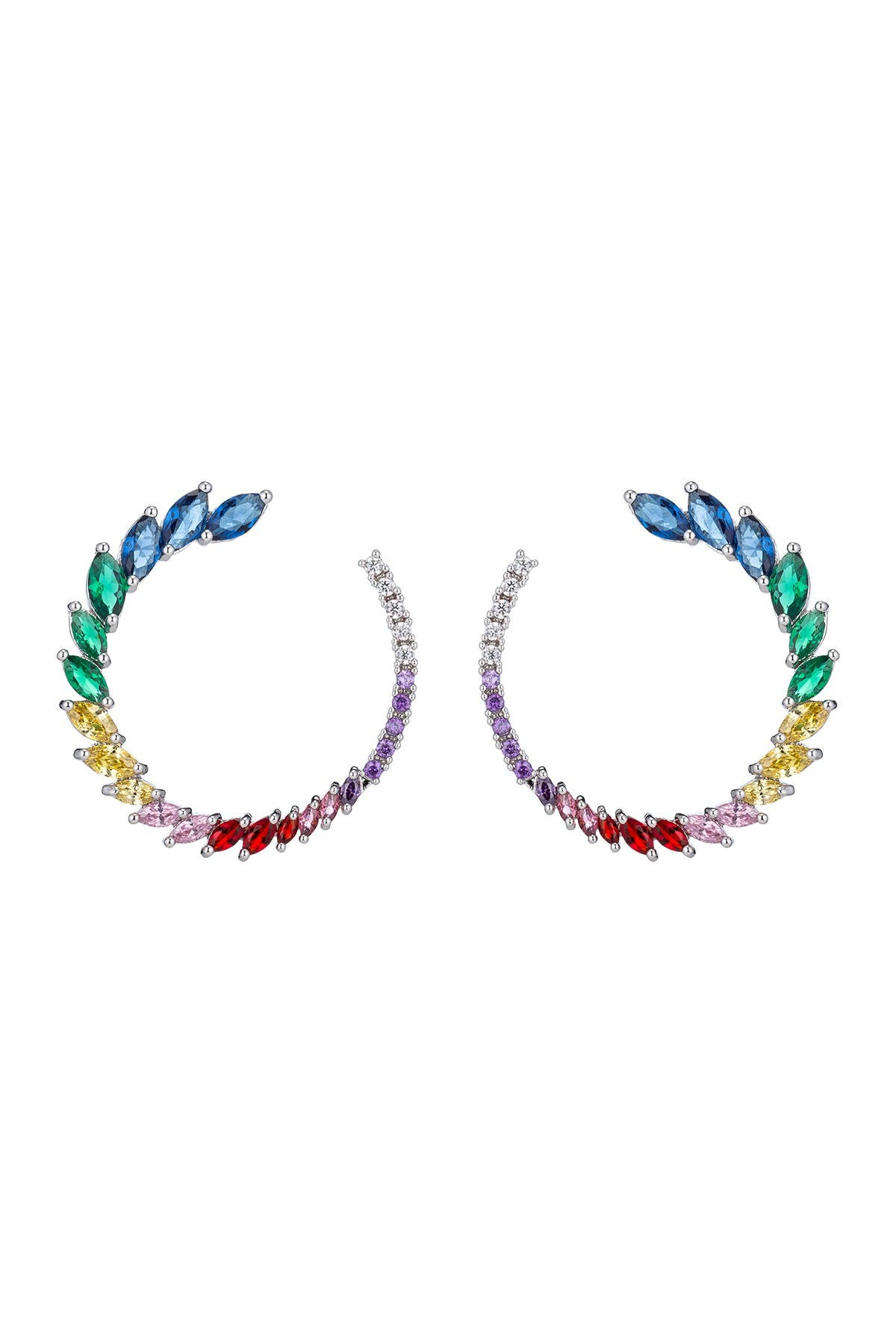 Image of Eye Candy Los Angeles Danielle Roman Marquise Cut Multi-Color Glass Open Circle Earrings