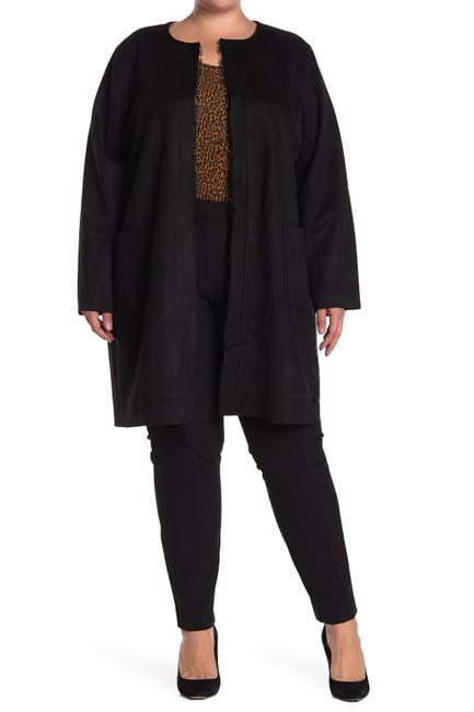 Image of T Tahari Faux Suede Patch Pocket Long Cardigan