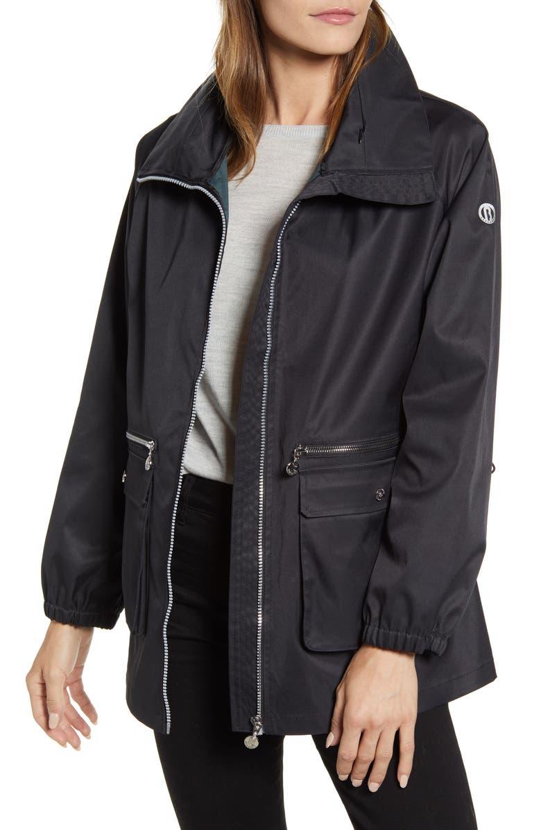 BERNARDO Short Water Resistant Raincoat, Main, color, BLACK