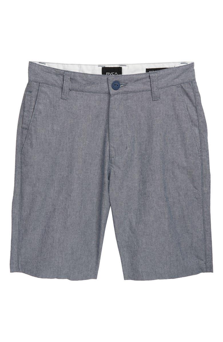 RVCA That'll Walk Oxford Shorts, Main, color, SEATTLE BLUE