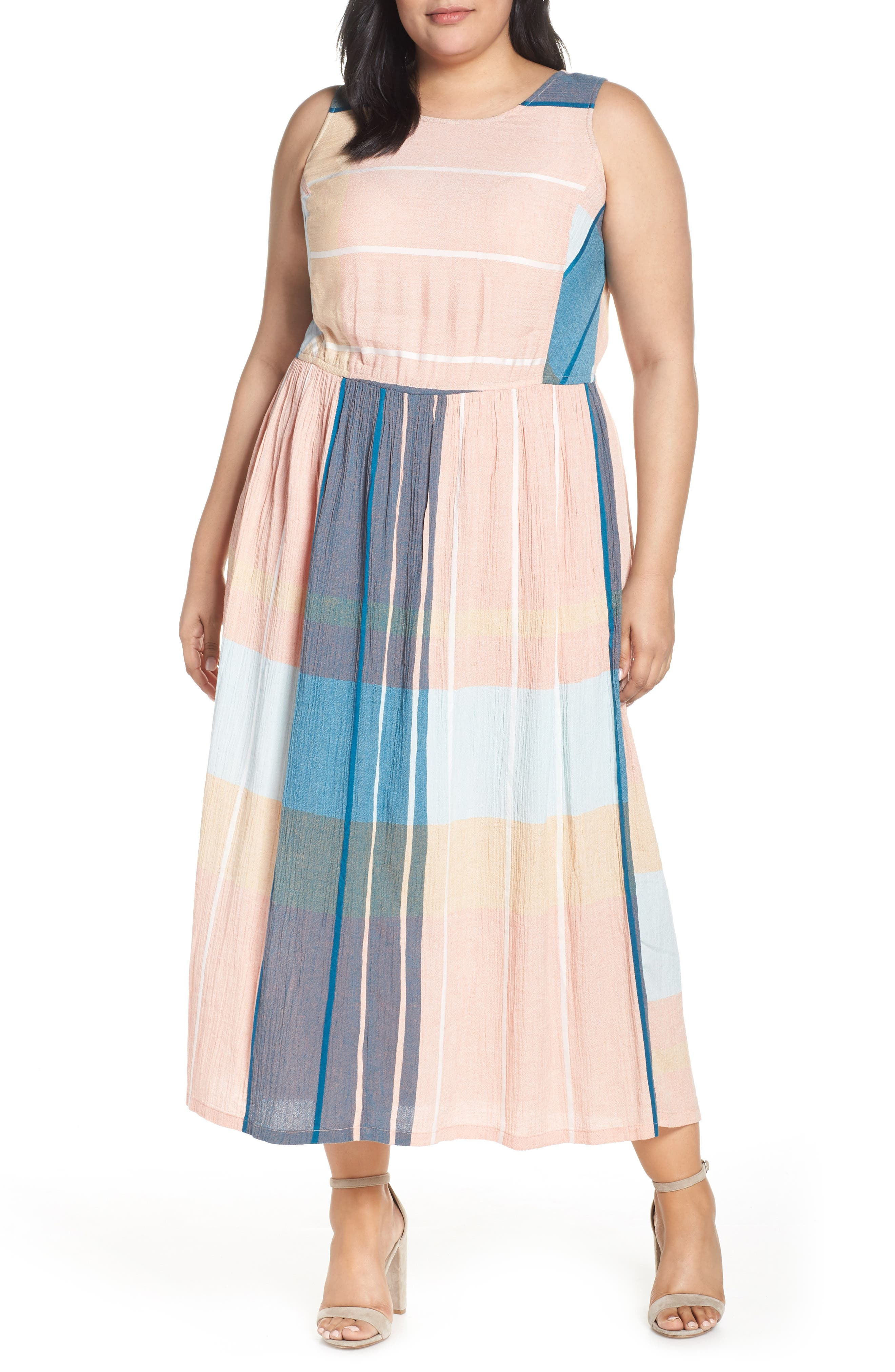 Plus Size Caslon Smocked Cotton Maxi Dress, Pink