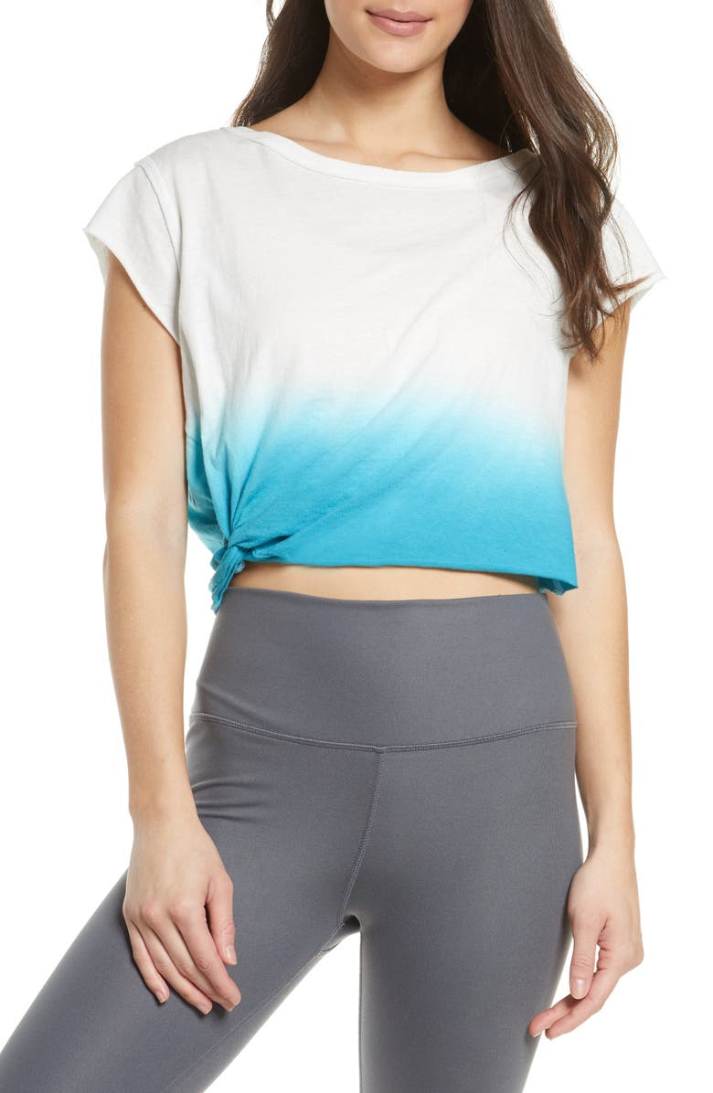 FREE PEOPLE FP MOVEMENT Hold it Down Dip Dye T-Shirt, Main, color, OCEAN BLUE