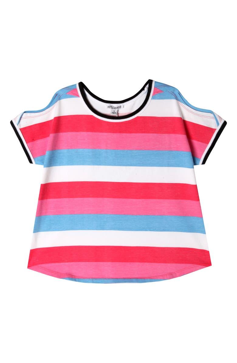 ART & EDEN Tara T-Shirt, Main, color, BRIGHT STRIPE