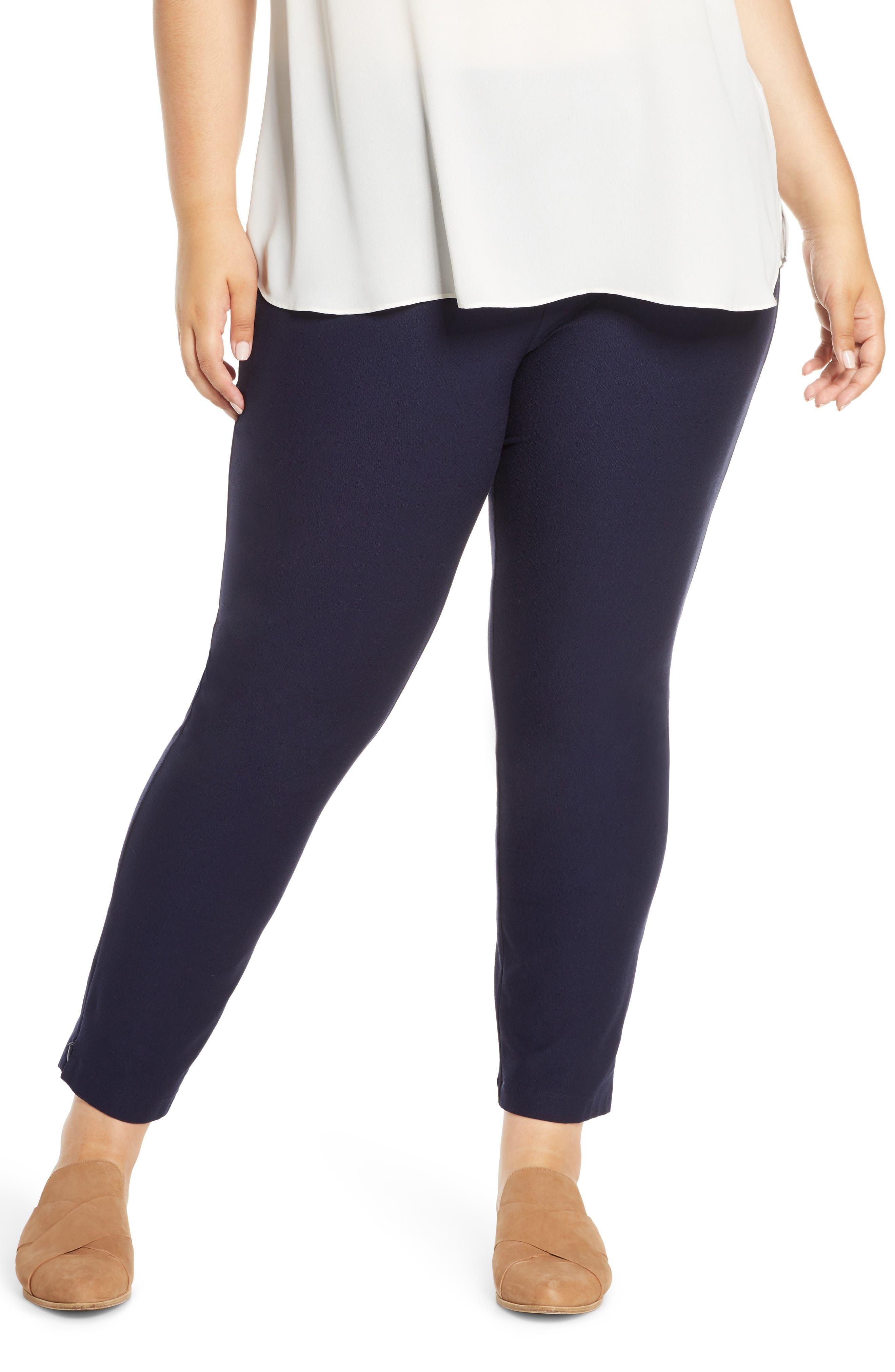Plus Women's Eileen Fisher Slim Zip Cuff Ankle Pants