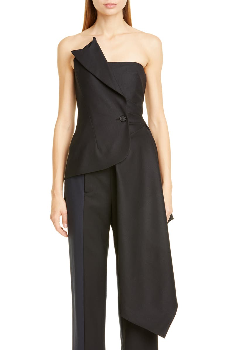 MONSE Asymmetrical Stretch Wool Corset Top, Main, color, BLACK