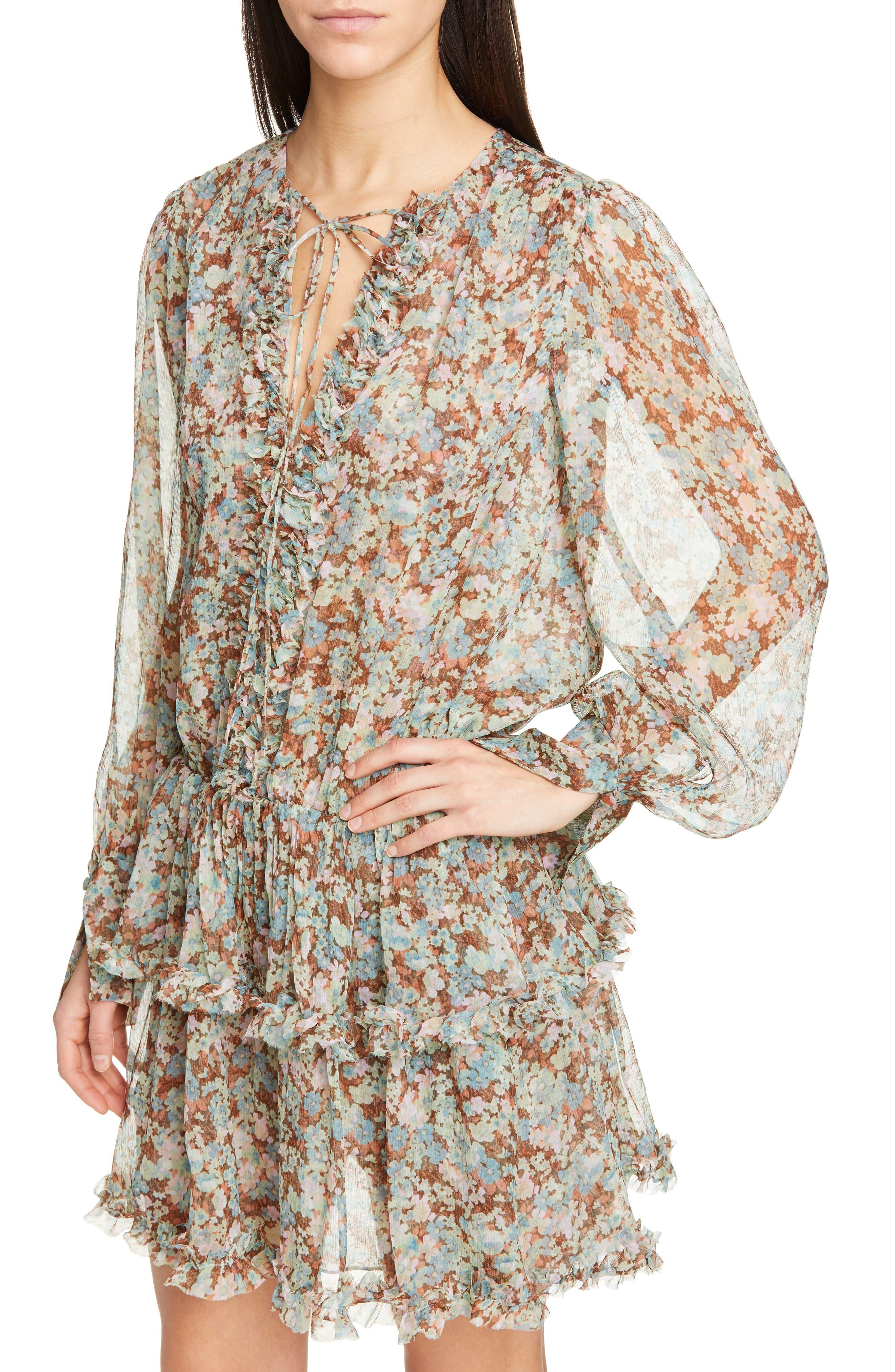 ,                             Meadow Floral Print Silk Dress,                             Alternate thumbnail 5, color,                             MULTICOLOUR