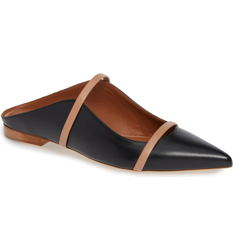 MALONE SOULIERS Maureen Pointy Toe Flat, Main, color, BLACK/ NUDE