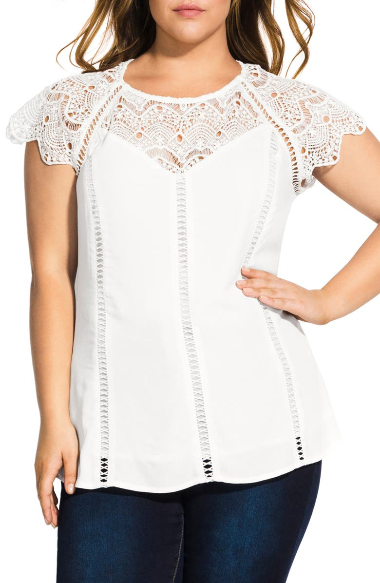 City Chic Lace Embellished Top Plus Size