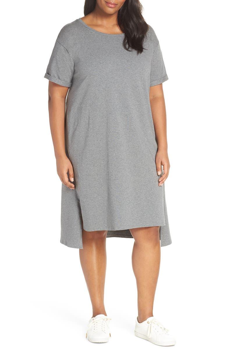 Eileen Fisher Organic Cotton T-Shirt Dress (Plus Size) | Nordstrom