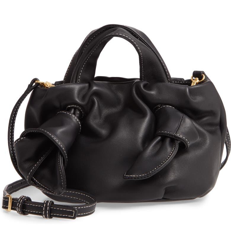 STAUD Ronnie Leather Crossbody Bag, Main, color, BLACK