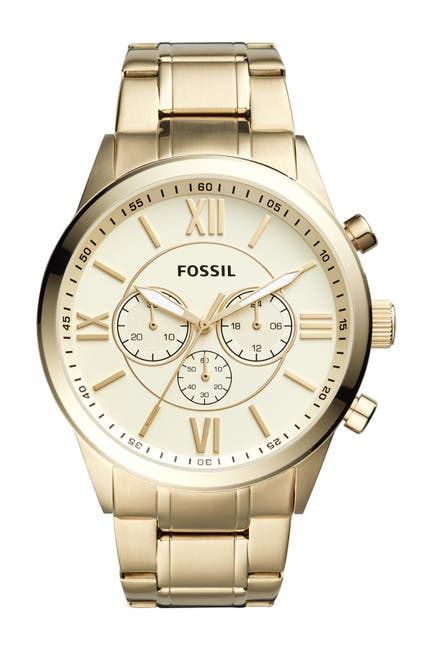 Image of Fossil Men's Flynn Chronograph Gold-Tone Stainless Steel Watch, 46mm