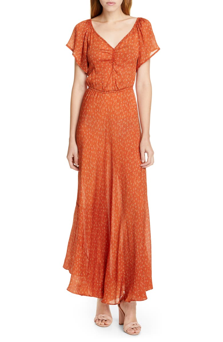 MES DEMOISELLES Falbala Floral Silk Maxi Dress, Main, color, 800