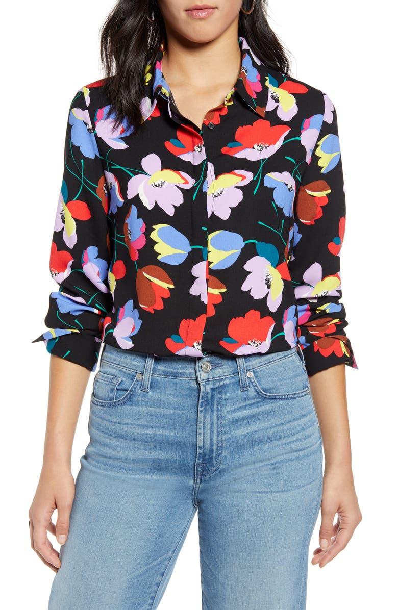 HALOGEN<SUP>®</SUP> Hidden Button Long Sleeve Blouse, Main, color, BLACK MULTI FLORAL