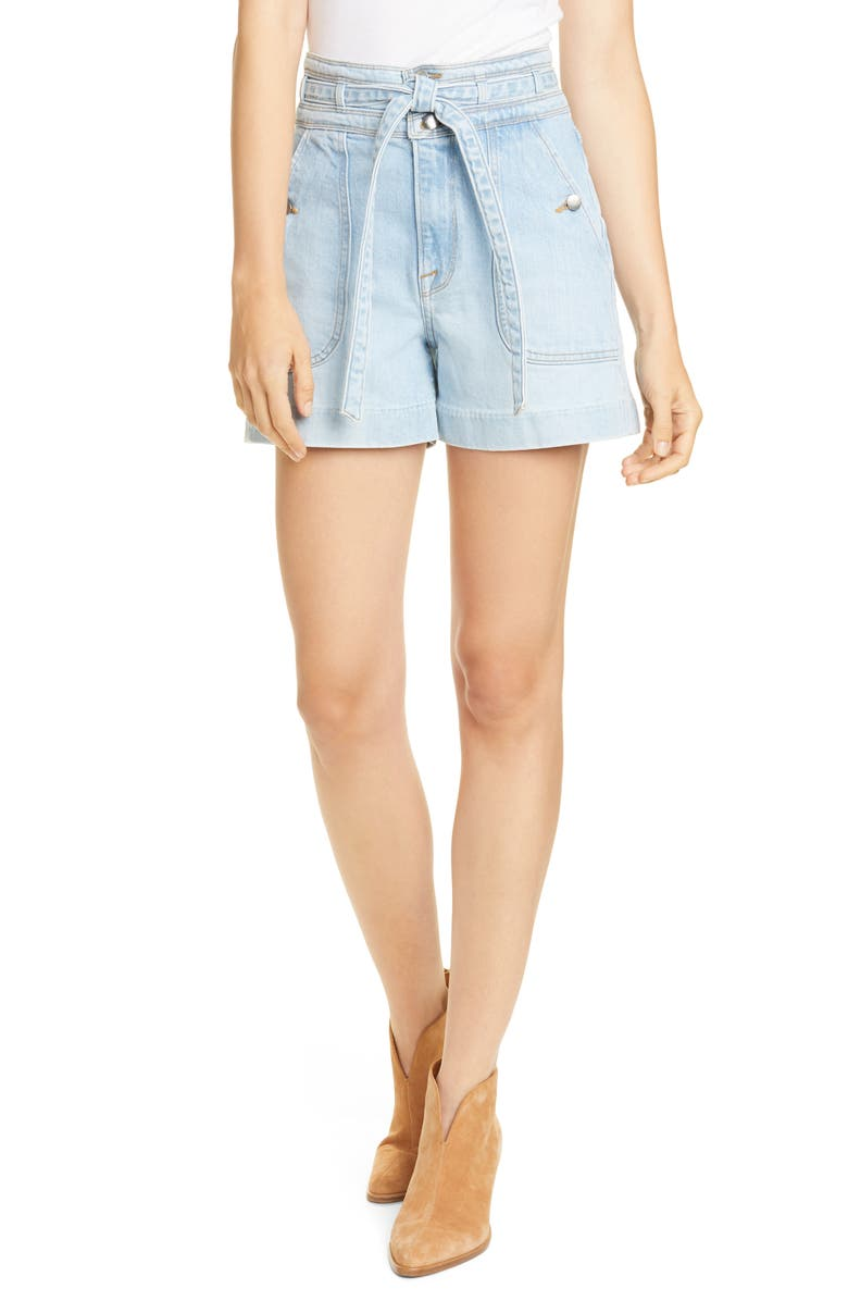 FRAME Triple Waist Belted Denim Shorts, Main, color, MAHONEY
