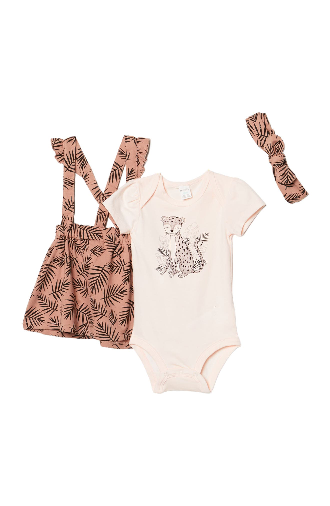 Image of Petit Lem Cheetah Print Overall 3-Piece Set