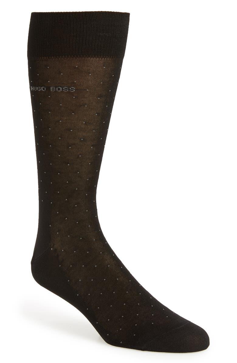 BOSS George Dot Dress Socks, Main, color, BLACK